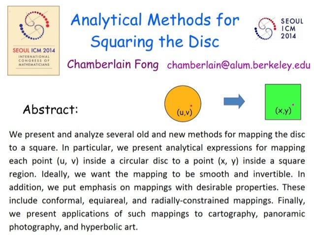 SEOUL ICM 2014  Analytical Methods for  seout .  . *-.  Q' 58% Squaring the DISC   Chamberlain Fong chamberlain@alum. berk...