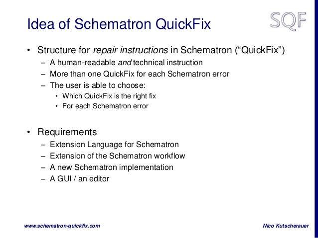 Schematron QuickFix on XMLPrague Slide 3