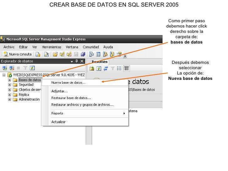 CREAR BASE DE DATOS EN SQL SERVER 2005 Como primer paso debemos hacer click derecho sobre la carpeta de: bases de datos De...