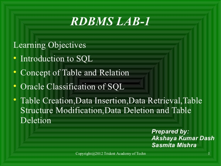 RDBMS LAB-1Learning Objectives    Introduction to SQL    Concept of Table and Relation    Oracle Classification of SQL...