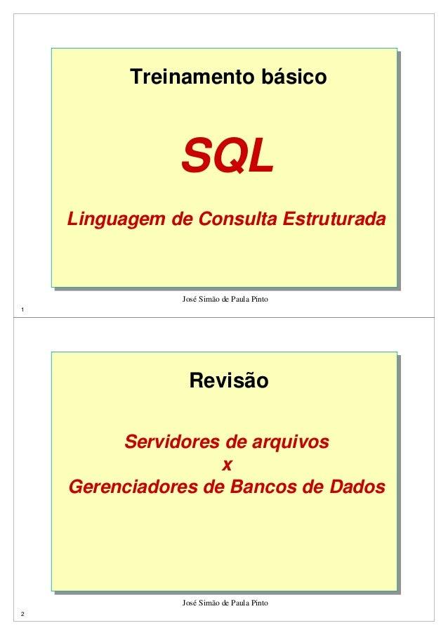 Treinamento básico  José Simão de Paula Pinto  1  SQL  Linguagem de Consulta Estruturada  Revisão  José Simão de Paula Pin...