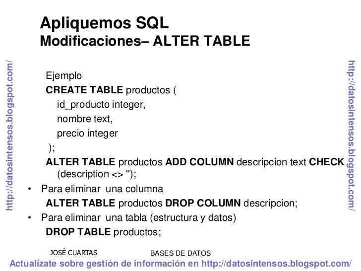 Sql ddl lenguaje de definici n de datos - Alter table add column not null ...