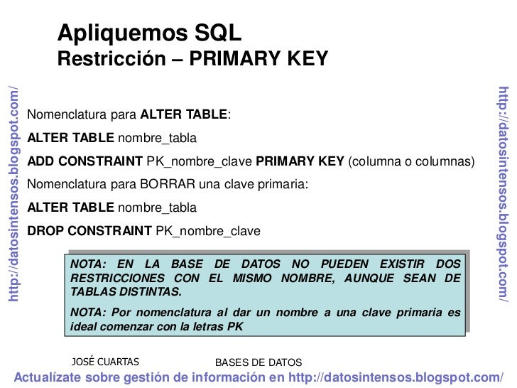 Sql ddl lenguaje de definici n de datos - Alter table add constraint primary key ...