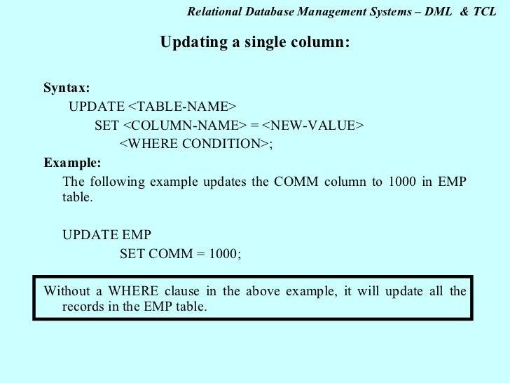 Updating a single column ...  sc 1 st  SlideShare & Sql dml \u0026 tcl 2