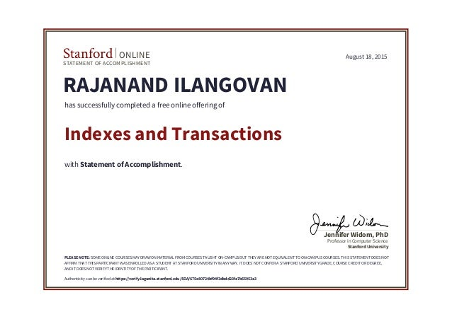 SQL- Indexes and transactions certificate by stanford