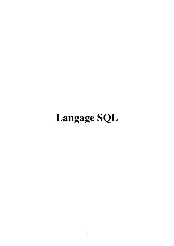 Langage SQL     1