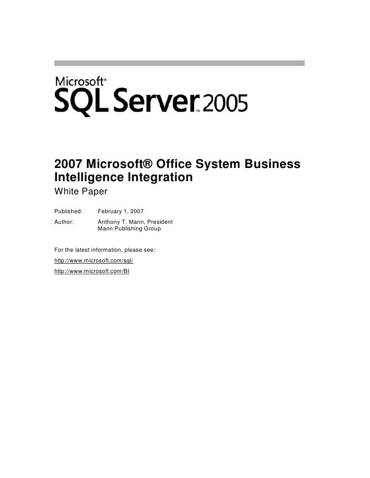 2007 Microsoft® Office System Business Intelligence Integration<br />White Paper<br />Published: February 1, 2007<br />Aut...