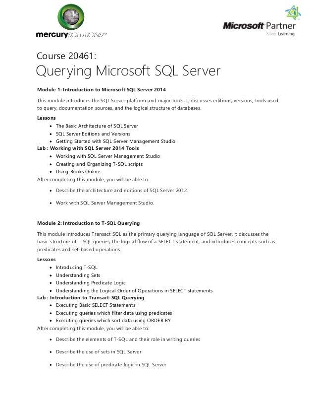 Sql Server 2014 Course Content