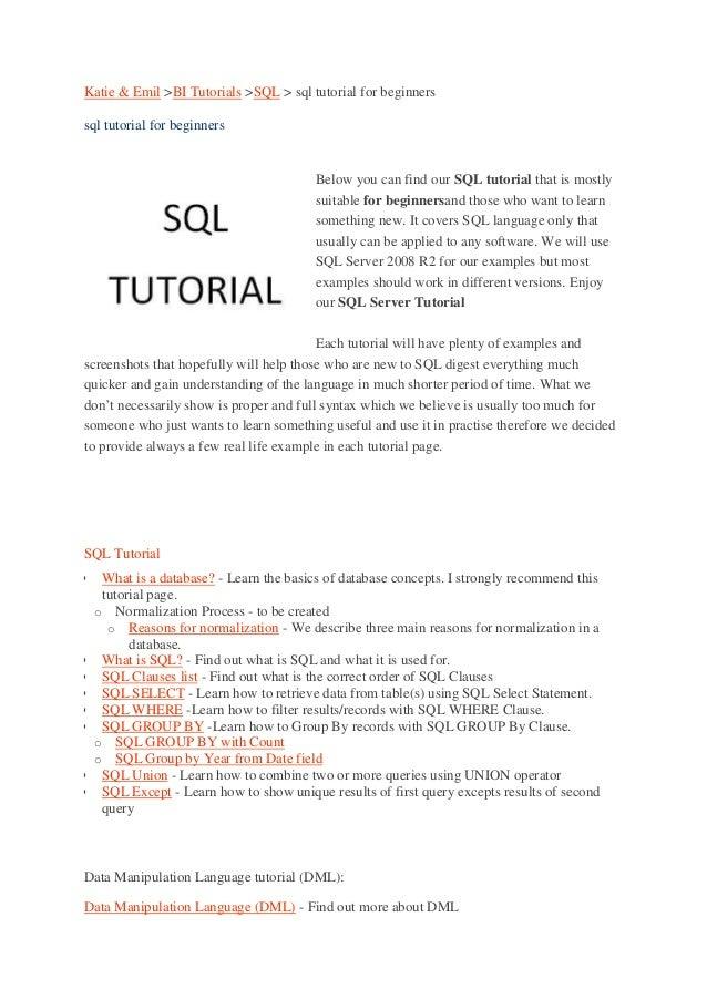 Sql Language Tutorial Pdf