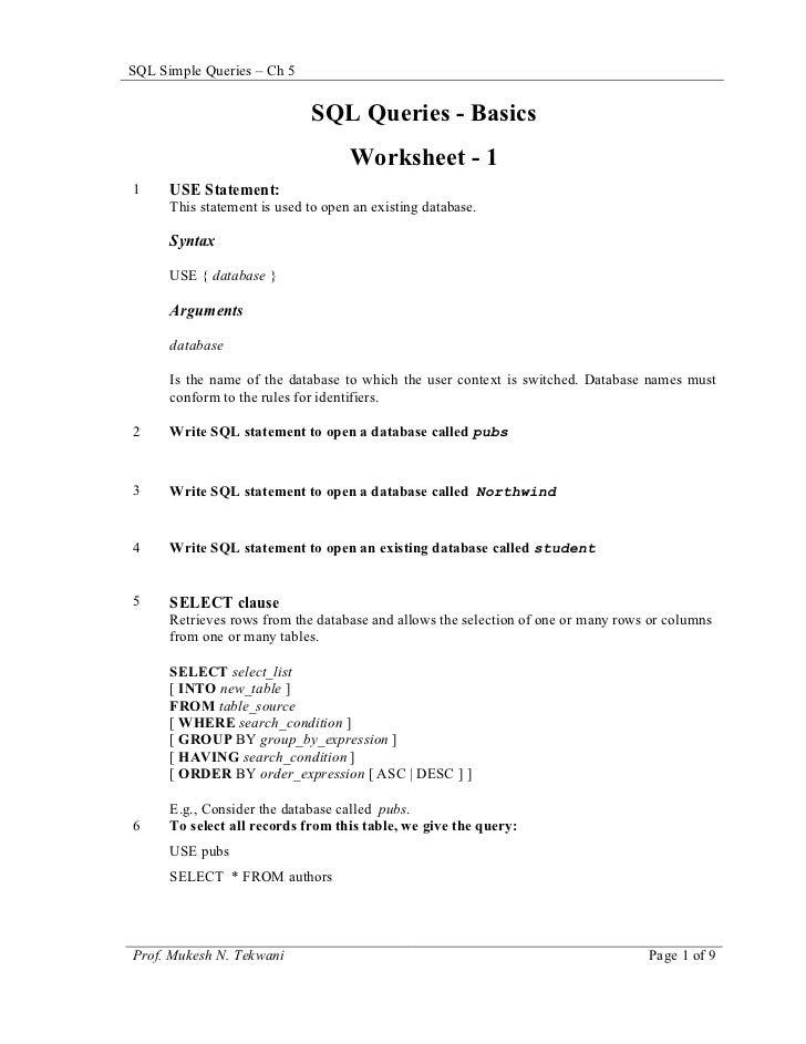SQL Simple Queries – Ch 5                             SQL Queries - Basics                                    Worksheet - ...