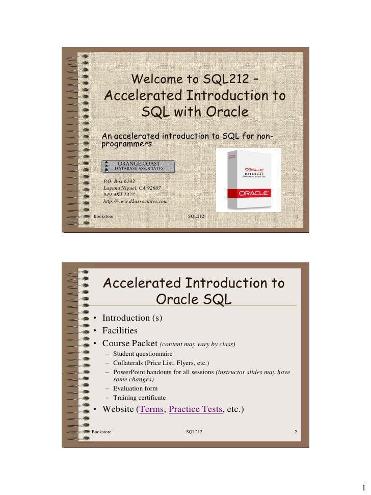SQL212 Oracle SQL Manual Slide 2