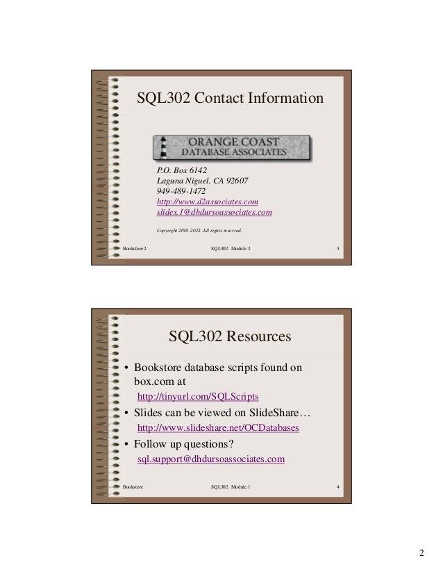 SQL302 Intermediate SQL Slide 3