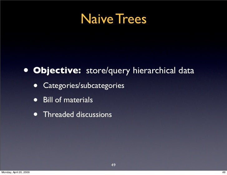 Naive Trees                   • Objective:               store/query hierarchical data                          •   Catego...