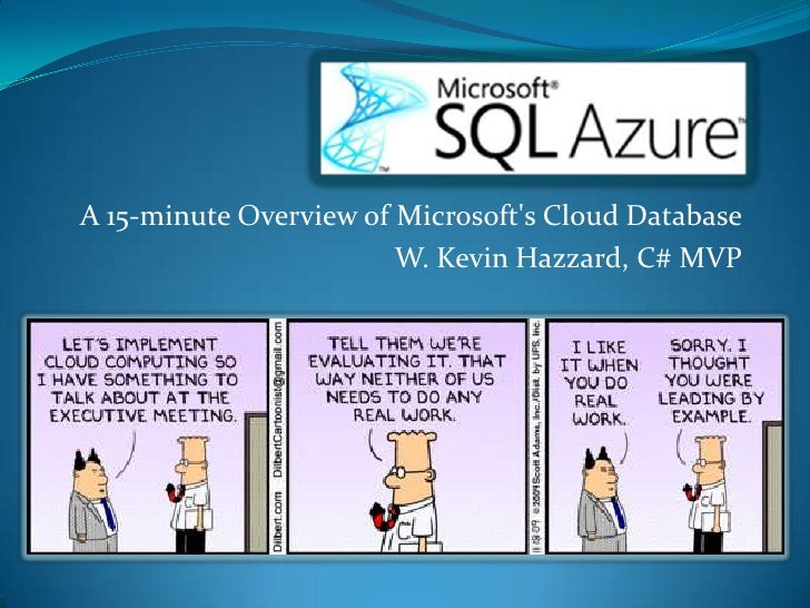 A 15-minute Overview of Microsoft&apos;s Cloud Database<br />W. Kevin Hazzard, C# MVP<br />