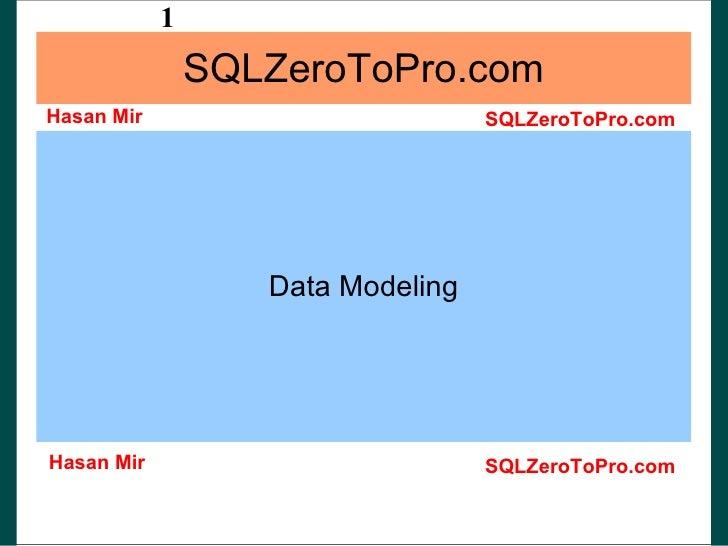 SQLZeroToPro.com Data Modeling