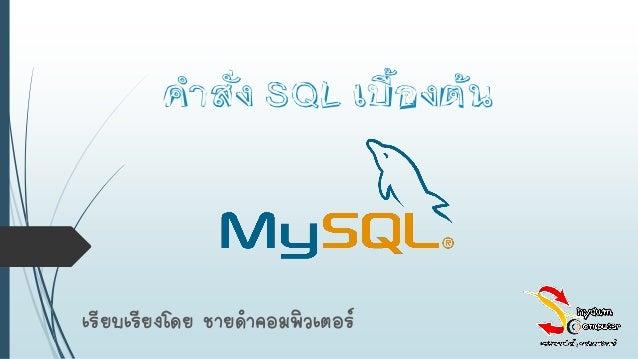 คำสั่ง SQL เบื้องต้น เรียบเรียงโดย ชายดาคอมพิวเตอร์