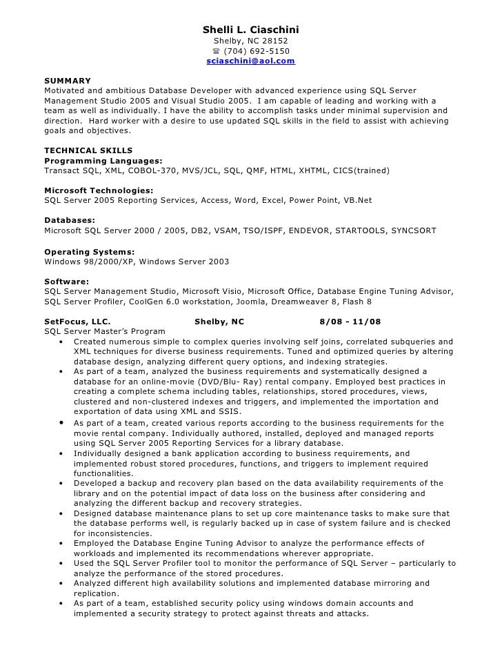 sql developer resume shelli l ciaschini - Database Developer Resume