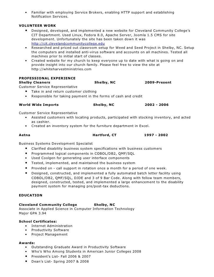 Sql developer resume