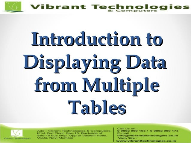 Sql Introduction To Displaying Data From Multiple Tables