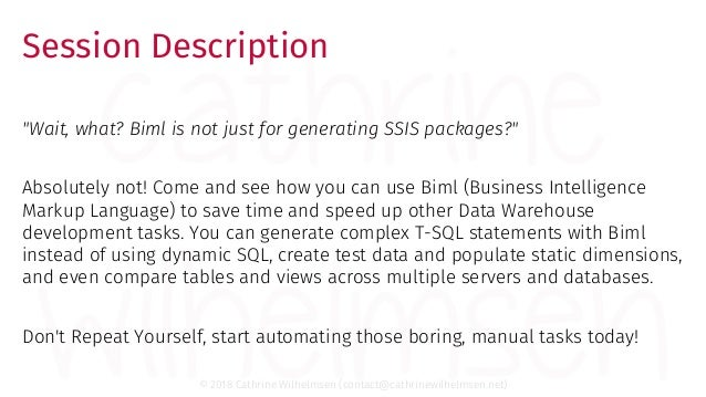 Biml Tips and Tricks: Not Just for SSIS Packages
