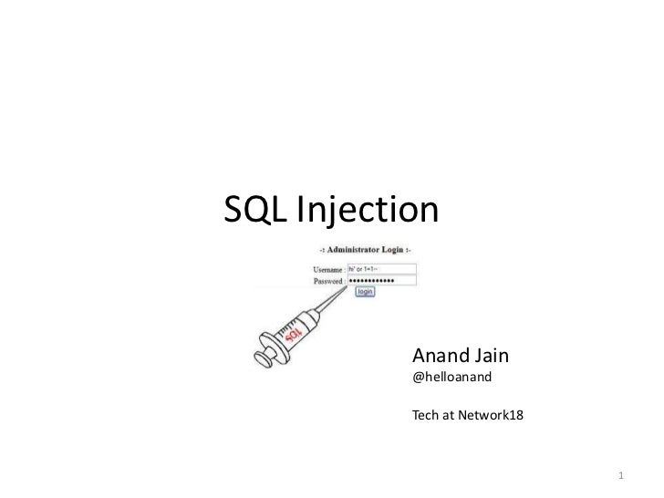 SQL Injection           Anand Jain           @helloanand           Tech at Network18                               1