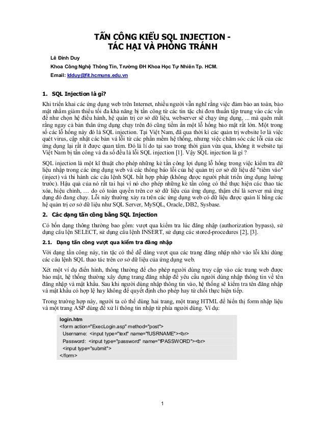 1TẤN CÔNG KIỂU SQL INJECTION -TÁC HẠI VÀ PHÒNG TRÁNHLê Đình DuyKhoa Công Nghệ Thông Tin, Trường ĐH Khoa Học Tự Nhiên Tp. H...
