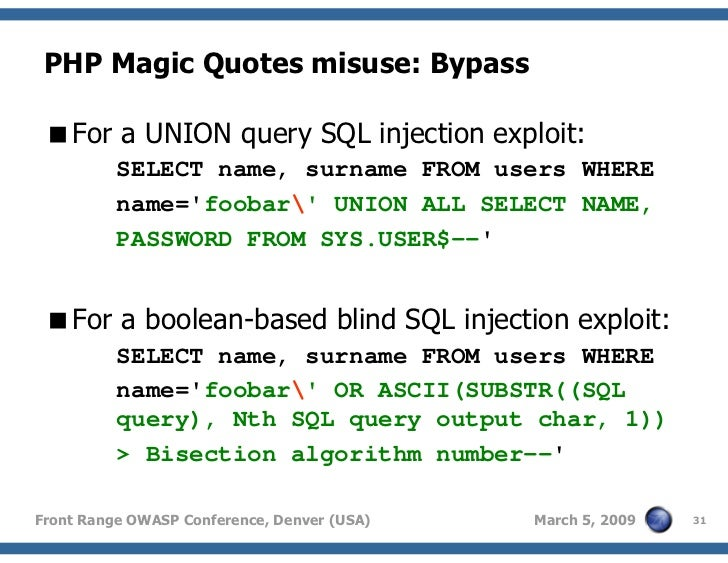 SQL injection: Not only AND 1=1