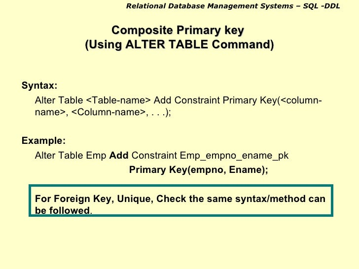 Sql intro ddl 1 - Alter table add foreign key ...