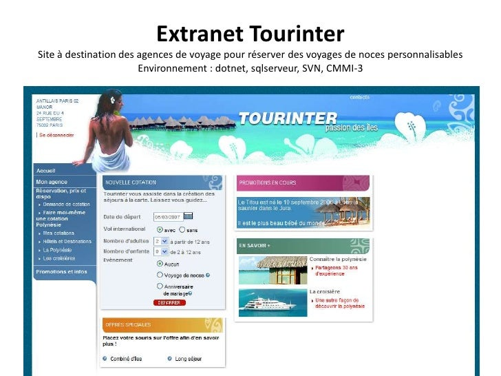 Extranet TourinterSite à destination des agences de voyage pour réserver des voyages de noces personnalisablesEnvironnemen...