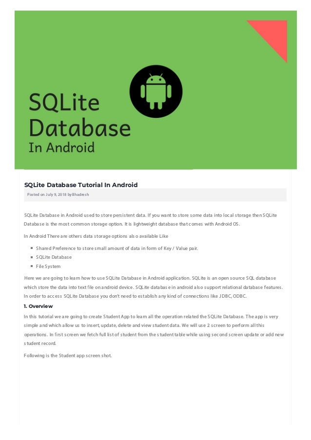 SQLite Database Tutorial In Android