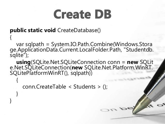 SQLite with UWP