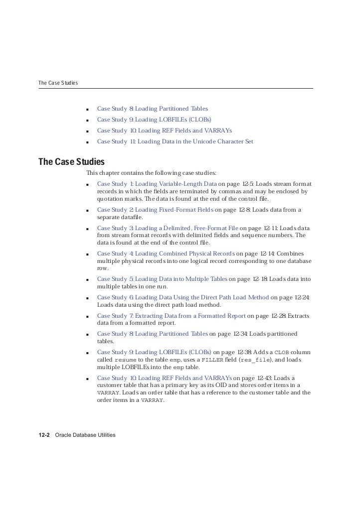 The Case Studies                           Case Study 8: Loading Partitioned Tables                         Case Study 9: ...