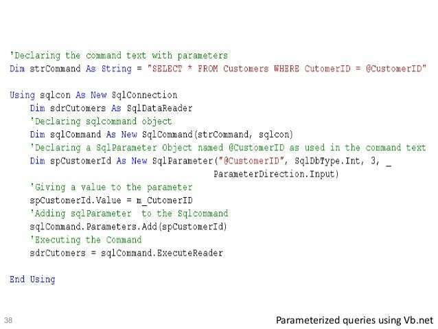 Sql parametrized queries