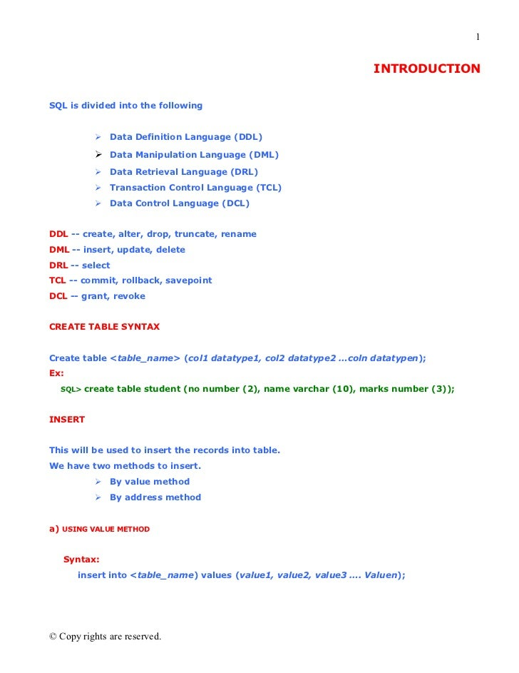 1                                                                  INTRODUCTIONSQL is divided into the following          ...