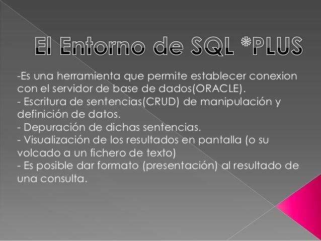 -Es una herramienta que permite establecer conexioncon el servidor de base de dados(ORACLE).- Escritura de sentencias(CRUD...