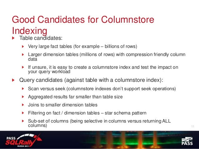 Good Candidates for ColumnstoreIndexing Table candidates:    Very large fact tables (for example – billions of rows)    La...
