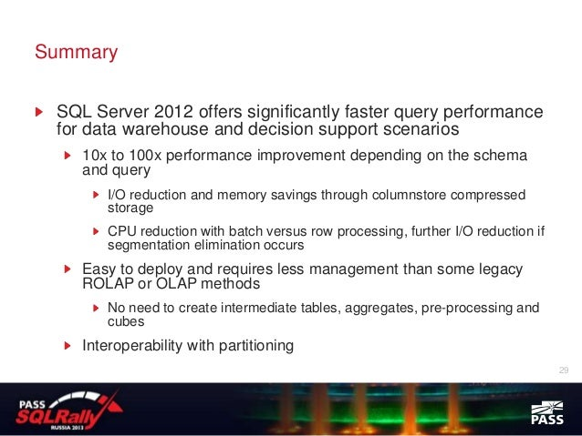 Sql Rally 2013 Columnstore Indexes