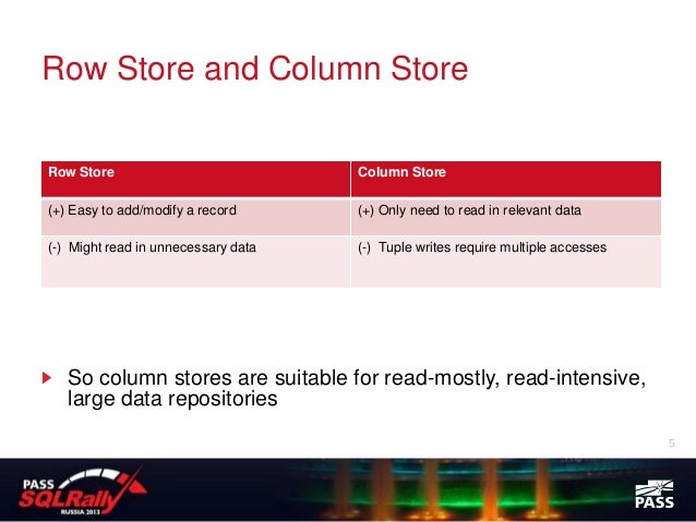 Row Store and Column StoreRow Store                            Column Store(+) Easy to add/modify a record      (+) Only n...