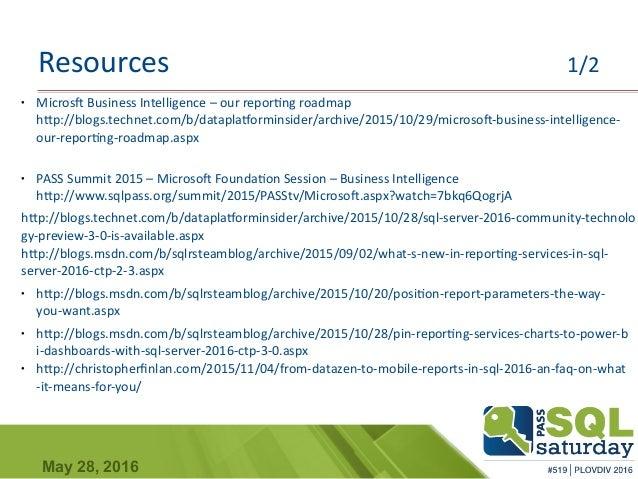 Sql Sat 519reportingservices2016 – Reporting Roadmap