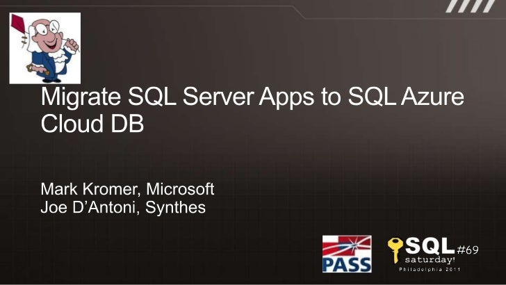 Migrate SQL Server Apps to SQL Azure Cloud DB<br />Mark Kromer, Microsoft<br />Joe D'Antoni, Synthes<br />
