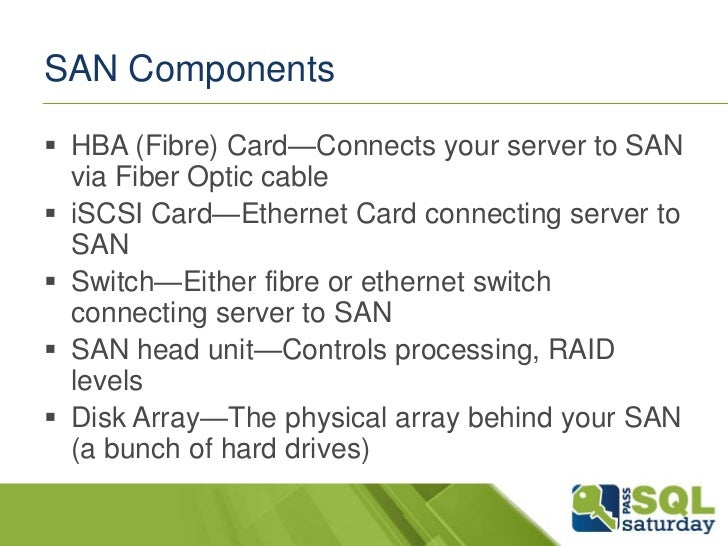 SAN Components HBA (Fibre) Card—Connects your server to SAN  via Fiber Optic cable iSCSI Card—Ethernet Card connecting s...