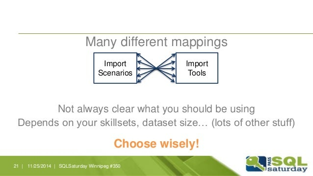 Many different mappings  Import  Scenarios  Import  Tools  Not always clear what you should be using  Depends on your skil...