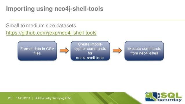 Importing using neo4j-shell-tools  Small to medium size datasets  https://github.com/jexp/neo4j-shell-tools  Format data i...