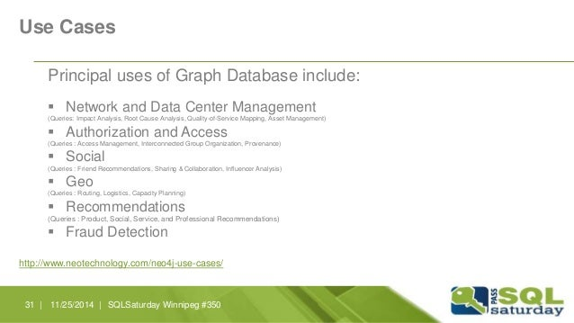 Use Cases  Principal uses of Graph Database include:   Network and Data Center Management  (Queries: Impact Analysis, Roo...