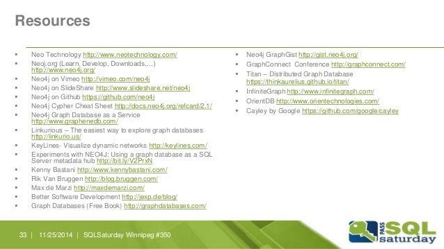 Resources   Neo Technology http://www.neotechnology.com/   Neoj.org (Learn, Develop, Downloads,…)  http://www.neo4j.org/...