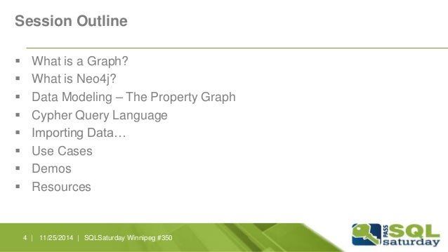 Session Outline   What is a Graph?   What is Neo4j?   Data Modeling – The Property Graph   Cypher Query Language   Im...
