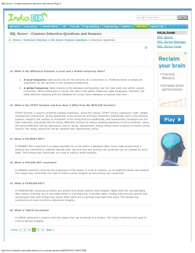 SQL Server - Common Interview Questions and Answers Page 4                                                                ...