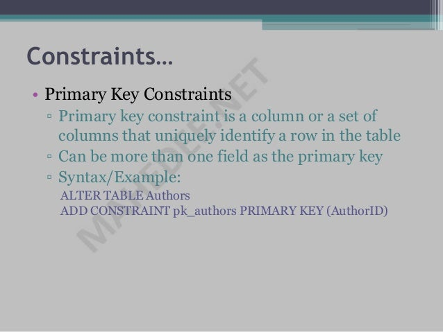 Ms sql server - Alter table add constraint primary key ...