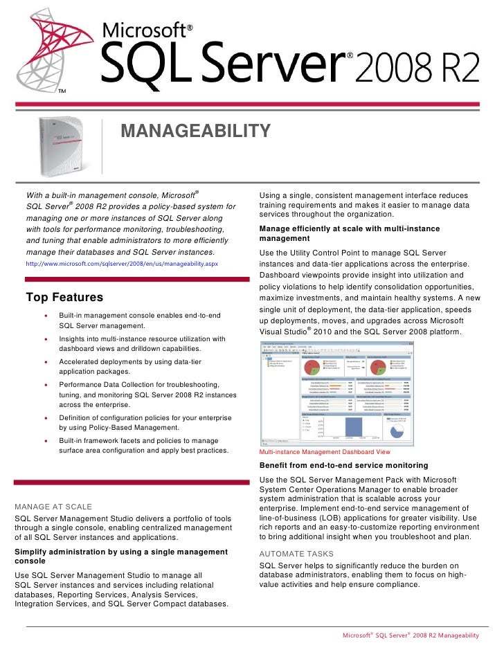 MANAGEABILITY                                                          ®  With a built-in management console, Microsoft   ...