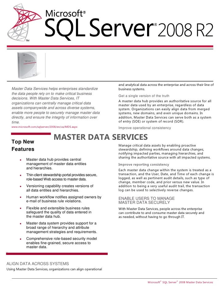 and analytical data across the enterprise and across their line of    Master Data Services helps enterprises standardize  ...